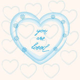 You are loved ,hand lettering Valentine's Day. Greeting card, vector illustration Royalty Free Stock Photos