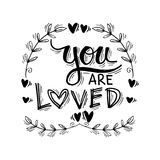 You are loved hand lettering. White background Royalty Free Stock Images