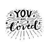 You are loved. Nursery lettering design. Royalty Free Stock Photos