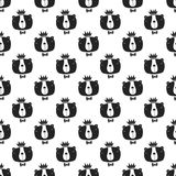 You are loved - nursery seamless pattern with bear king in scandinavian style. Monochrome  illustration.  Stock Photo