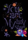 You are lucky my star!  typographical design Royalty Free Stock Photography