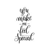 You make me feel special black and white hand written. Lettering about love to valentines day design poster, greeting card, photo album, banner, calligraphy Royalty Free Stock Photo