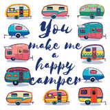 You make me a happy camper card. Retro Camper Fun. Happy Camper Card. Camping Travels Greeting Card. Cute little vintage travel trailers caravan. Vector vector illustration