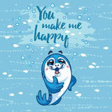 You make me happy card with cartoon baby Seal Stock Image