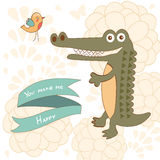 You make me happy concept card with cute alligator Stock Images