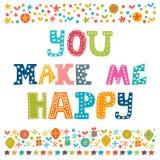 You make me happy. Concept romantic postcard.  Royalty Free Stock Photos