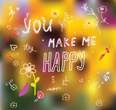 You make me happy - cute  card Stock Images