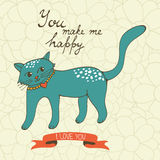You make me happy. Cute hand drawn card with a cat Royalty Free Stock Photos