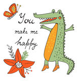 You make me happy. Cute hand drawn card with crocodile character Stock Photos