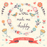You make me happy romantic card with birds and Stock Photo