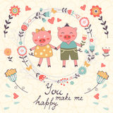 You make me happy romantic card with cute pigs. Couple. vector illustration Royalty Free Stock Photography