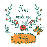 You make me happy. Romantic concept card with hand lettering Royalty Free Stock Image