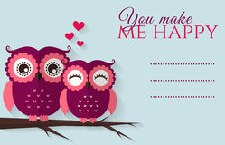 You make me happy. Vector card with cute owls. You make me happy. Romantic card with cute flat owls and place for your text. Vector illustration Royalty Free Stock Photography