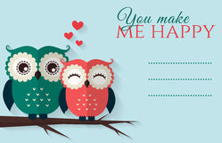 You make me happy. Vector card with cute owls. Royalty Free Stock Photography