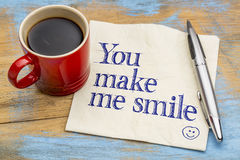 You make me smile on napkin Royalty Free Stock Image