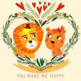 You Make My Happy card in bright colors. Stock Images