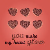 'You make my heart glow' typography. Happy Valentine's Day Greeting Card. Stock Images