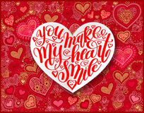 you make my heart smile calligraphy design on red paper hand drawing heart shape stock illustration