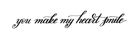 You make my heart smile handwritten calligraphy lettering quote Royalty Free Stock Photos