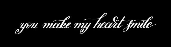 You make my heart smile handwritten calligraphy lettering quote Stock Photography