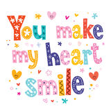 You make my heart smile lettering text design Royalty Free Stock Photo