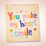 You make my heart smile note paper illustration Stock Images