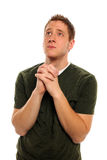 You Man Looking Up Praying Stock Images