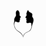 You and me. A man and a woman. Black and white silhouette of lovers. Vector Graphics Royalty Free Stock Photography