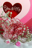 carnation with Valentine candy Stock Images