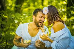 You, Me and breakfast in nature. Couple relationship royalty free stock photo