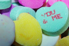 Close up of a You & Me Candy Heart Royalty Free Stock Photography