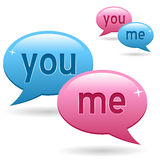You & Me Chat Logo. You and me chat logo with two (pink and blue) speech bubbles. Eps file available Royalty Free Stock Photo