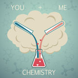 You and me it is chemistry. Chemistry of Love. Vector background Royalty Free Stock Photo