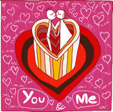 You and me coffee love hand drawn Royalty Free Stock Photo