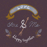 You and me delicate elegant hand lettering. Stock Photography