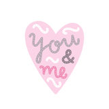 You and me. Heart and text. Royalty Free Stock Images