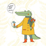 You and me. Illustration of a crocodile and a mouse. Royalty Free Stock Image
