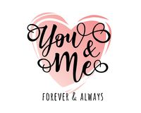 `You and me` inspirational lettering motivation poster stock illustration