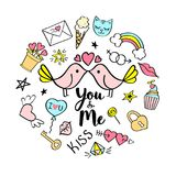 You and Me lettering with girly doodles for valentines day card design, girl`s t-shirt print, posters. Hand drawn fancy comic slogan in cartoon style Royalty Free Stock Photo