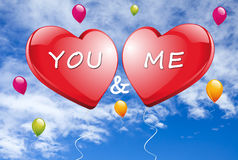 You and Me with red Hearts Royalty Free Stock Photos
