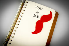 You and me text in emty book or diary, mustache, boy love, gay Stock Photo
