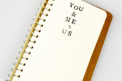 You and me text in emty book or diary Stock Photography