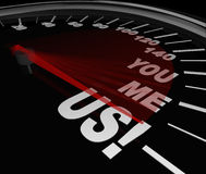 You Me Us Speedometer Together Teamwork Partnership Royalty Free Stock Images