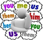 You Me Us Them Thought Clouds Sharing Blame Credit Responsibilit. You Me Us Them Her Him words in thought clouds over a thinking person wondering who deserves Stock Image