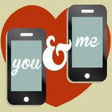 You and me valentine text message image Royalty Free Stock Photography
