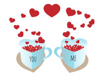You and me. Valentines mugs you and me with hearts Stock Photo