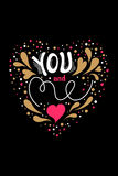 You and me. Vector Valentines Day hand drawn text You and me.Valentine Day design card. Gold and pink on black background vector illustration
