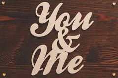 You&me wood letters Stock Photo