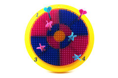 You missed. A toy dart and board with all the darts missing the target, a metaphor of you missed or missing the target or point Royalty Free Stock Photos