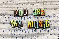 You music important enjoy dance soul life love typography font stock photo